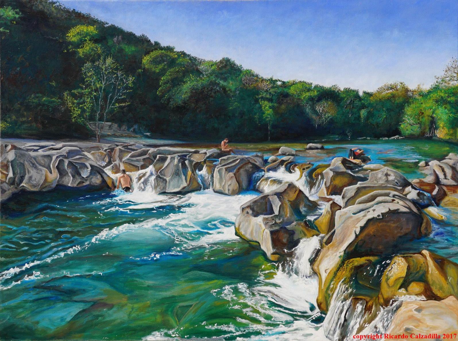 landscape oil painting of Sculpture Falls , Barton Creek , Austin Texas.