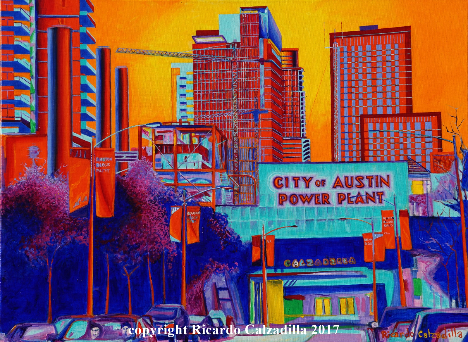 abstract city-scape psychedelic colors