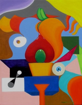 abstract painting wit a bent towars Modern Art versus contemporary art